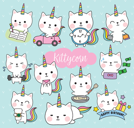 Vector illustration of cute white cat unicorn