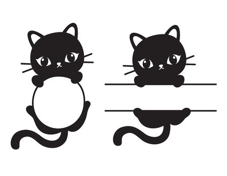 linda silueta gato negro y rectangular marco rectangular ilustración vectorial .