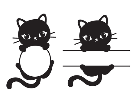 Cute black silhouette cat round and rectangular frame vector illustration. Vettoriali
