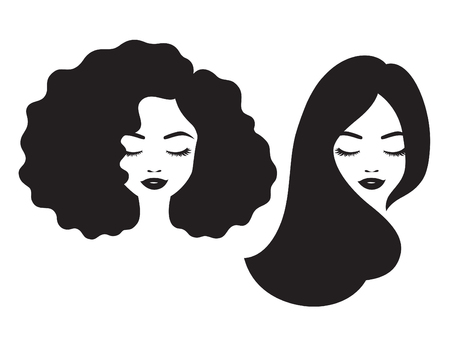 Beautiful woman and black African American woman face with afro and long straight hair vector illustration.