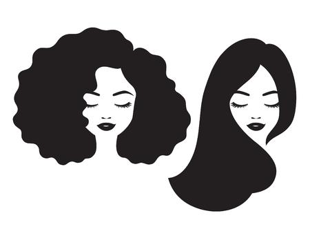 mujer hermosa y rostro africano rojo mujer de la cara con la ilustración vectorial pelo largo y rizado . Ilustración de vector