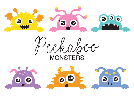 Set of cute peekaboo monsters vector illustration. Funny little monsters in various colors.