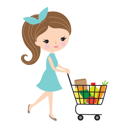 Pretty woman pushing grocery shopping cart with food in supermarket. Illustration