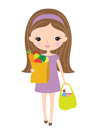 Young woman holding and carrying grocery bags with food and vegetables. Illustration