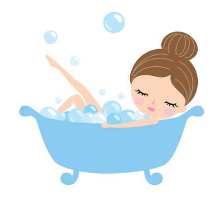 Young woman taking a bubble bath.  イラスト・ベクター素材