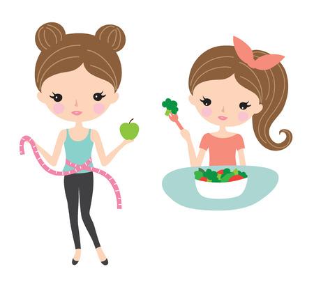 Pretty woman on a diet and enjoy eating healthy salad. Ilustrace