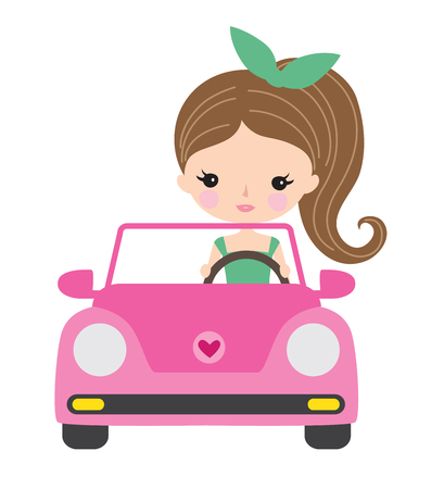 Vector illustration of a young woman or teenage girl driving a convertible car. Иллюстрация