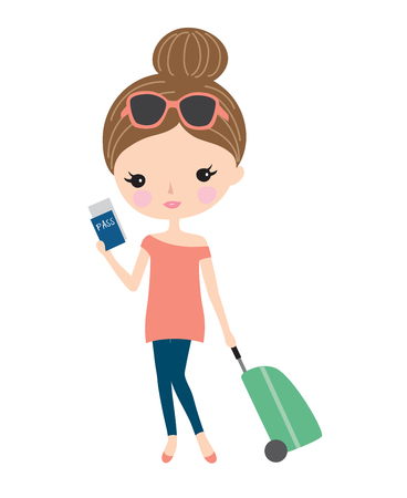 Pretty young woman traveling with a suitcase and holding a passport. Illustration