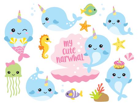 Illustration vectorielle de personnages de licorne mignon bébé narval ou baleine avec des poissons, des hippocampes, des méduses, des étoiles de mer et des coquillages.