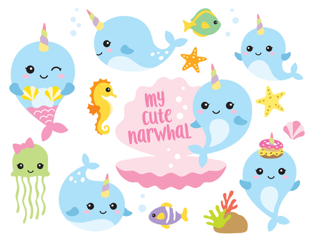 Vector illustration of cute baby narwhal or whale unicorn characters with fishes, seahorse, jellyfish, starfishes, and shells. Vettoriali