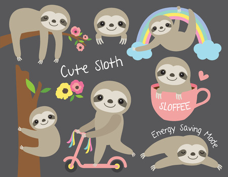 Vector illustration of cute baby sloth in various activities