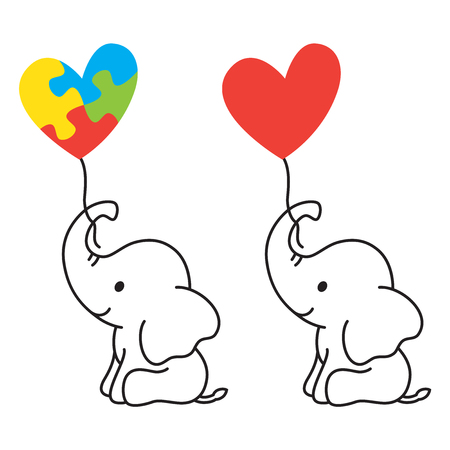 Illustration of a lined elephant holding a heart shape balloon