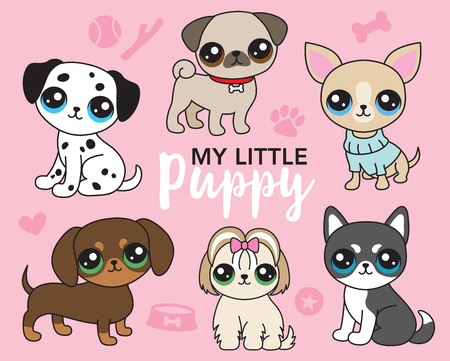 Vector illustration of cute puppy dog including pug, chihuahua, shih tzu, dalmatian, siberian husky, and dachshund collection.