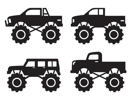 Vector illustration of monster pick up truck silhouette set. Vettoriali
