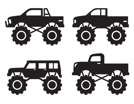 Vector illustration of monster pick up truck silhouette set. Ilustração