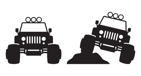 Monster truck front view silhouette vector illustration.