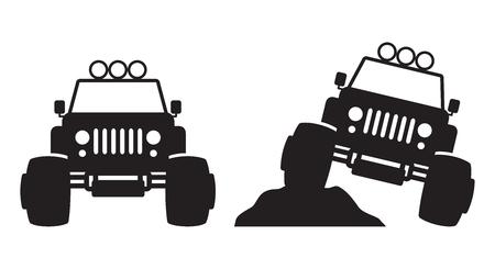 Monster truck front view silhouette vector illustration. Imagens - 103631956