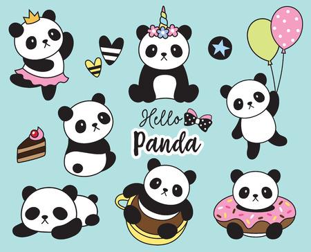 Ilustracja wektorowa cute baby panda zestaw. Ilustracje wektorowe