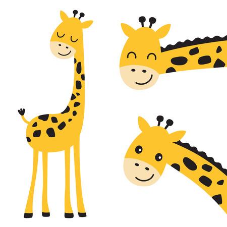 Linda ilustración de vector de jirafa sonriente y asomándose.