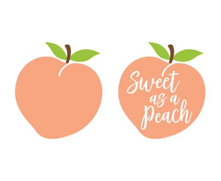 """Pfirsich-Logo mit Zitat """"Süß wie ein Pfirsich"""" -Vektorillustration."""