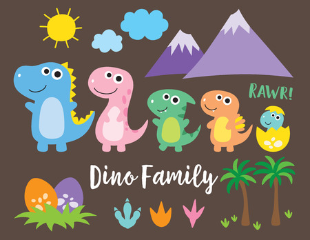 Cute dinosaur family, dinosaur baby, egg and footprint vector illustration. Illustration