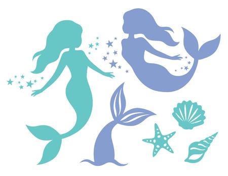 Schattenbild der schwimmenden Meerjungfrauen, des Meerjungfrauenschwanzes, der Muscheln und der Seesternvektorillustration. Vektorgrafik