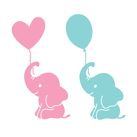 Cute baby elephants holding heart shape and oval balloons silhouette vector illustration. Illustration