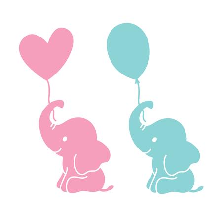Elefantes bebé lindo con forma de corazón y globos ovalados silueta ilustración vectorial.