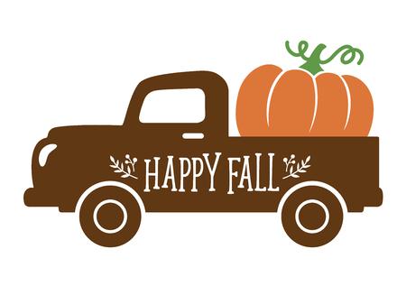 Un viejo camión vintage con calabaza de cosecha. Ilustración de vector de calabaza de otoño.