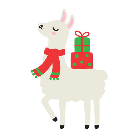 Vector illustration of cute holiday llama or alpaca carrying Christmas gift presents. Llama wearing Christmas scarf. Illustration