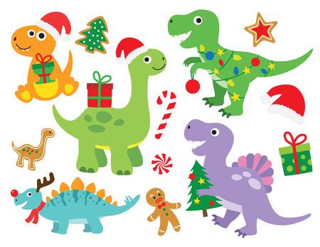 Ilustración de vector de lindo dinosaurio de vacaciones de Navidad. Dinosaurio con luces de Navidad y regalos. Dinosaurio lindo con sombrero de Santa. Foto de archivo - 109837269