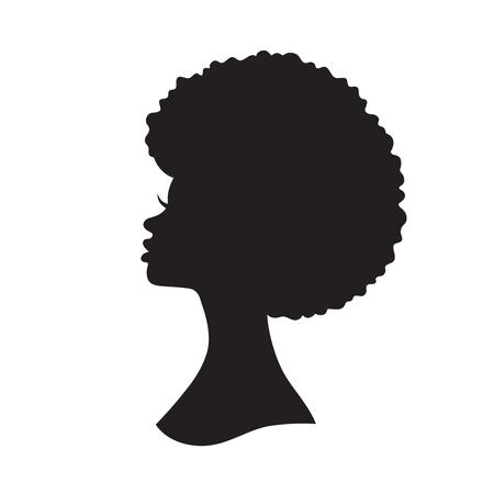 Vector illustration of black woman with afro hair silhouette. Side view of African American woman with natural hair. Çizim