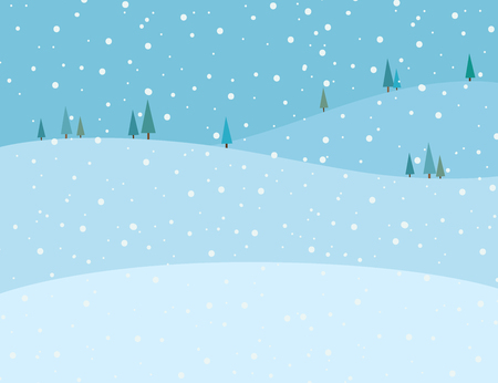 Vector illustration of blue winter scenery background. Snow falling on the mountains landscape in winter image. Vettoriali