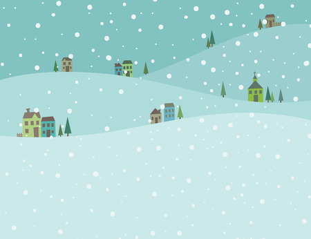 Vector illustration of green winter snow landscape background. Image of snow falling on the village. Vettoriali
