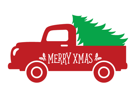 Vector illustration of an old vintage truck carrying a Christmas tree. Stock Illustratie