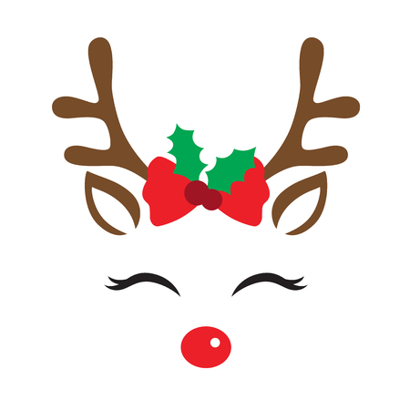 Vector illustration of a cute reindeer face with Christmas decoration. Stock Illustratie