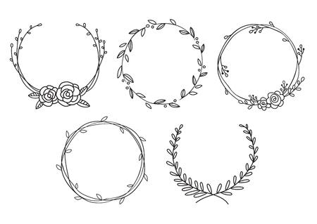 Vector illustration of hand drawn wreaths. Cute doodle floral wreath frame set.