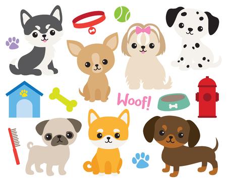 Conjunto de ilustración de vector de cachorro lindo que incluye Husky siberiano, Chihuahua, Yorkshire Terrier, Pug, Shiba, Dachshund, Dálmata, Maltés. Ilustración de vector
