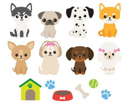 Vector illustration of cute puppy dog in different breeds including Chihuahua, Siberian Husky, Pug, Poodle, Dachshund, Dalmatian, Shiba, Maltese, Yorkshire Terrier.