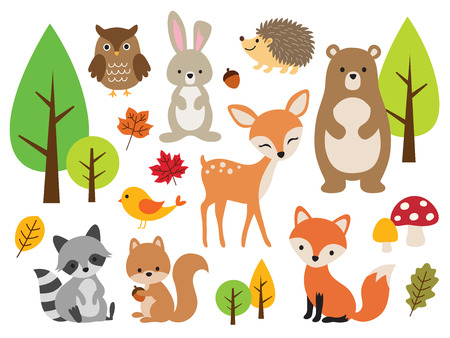 Vector illustration of cute woodland forest animals including deer, rabbit, hedgehog, bear, fox, raccoon, bird, owl, and squirrel. 일러스트