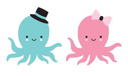 Cute baby boy and girl octopus vector illustration. Stock Illustratie