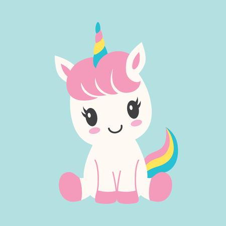 Unicornio lindo bebé con arco iris y flores conjunto de ilustraciones vectoriales.