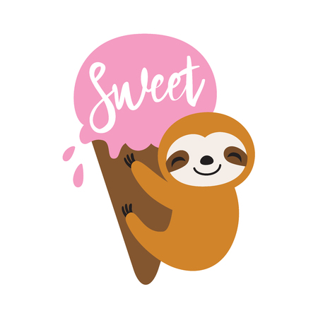 Baby sloth hanging on an ice cream in summer. Cute sloth vector illustration.