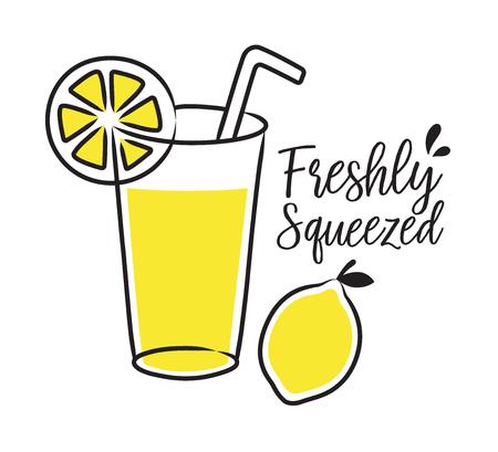 Vector illustration of freshly squeezed lemonade and lemon.