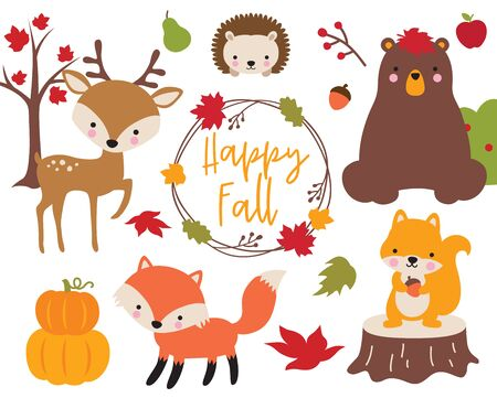 Cute vector illustration of Fall or Autumn woodland animals including bear, deer, fox, hedgehog, and squirrel. Ilustração