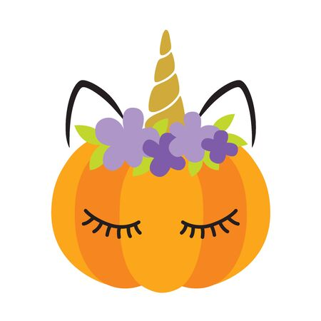 Vector illustration of a pumpkin with cute unicorn face.