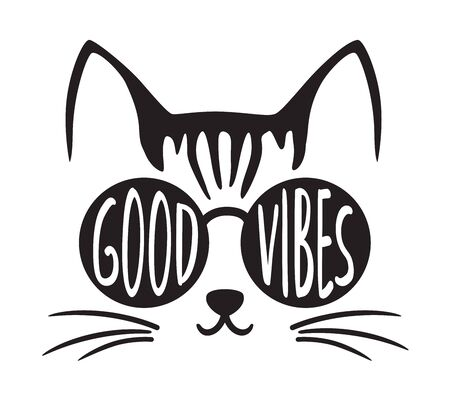 Cute good vibes cat wearing sunglasses vector illustration.