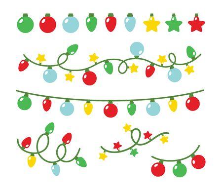 Illustration vectorielle de jeu de lumière de fête de Noël. Guirlande lumineuse décorative pour les fêtes. Vecteurs