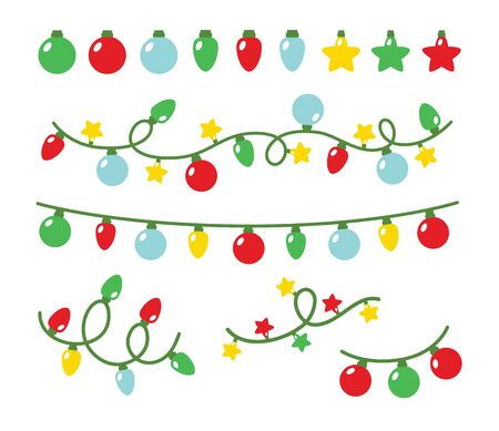 Vector illustration of Christmas party light set. Decorative holidays string light.