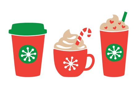Vector illustration of Christmas holiday drink including hot and iced coffee. Peppermint chocolate drink. Stock Illustratie